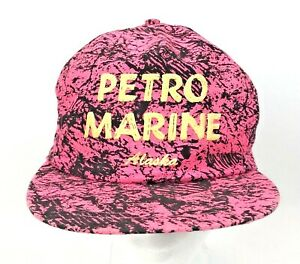 c7cd48fed Details about 90s Petro Marine Alaska Snap Back Dad Hat Neon Pink Scribble  All Over Print