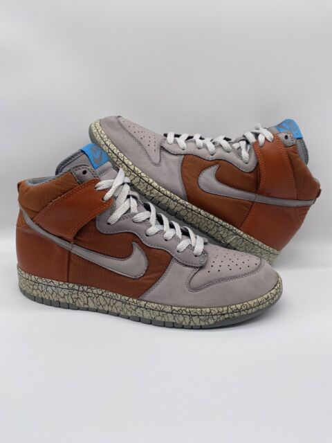 2007 Nike SB Dunk High Earthquake Dark Orange 306968-801 Rerto 1 Size 9.5