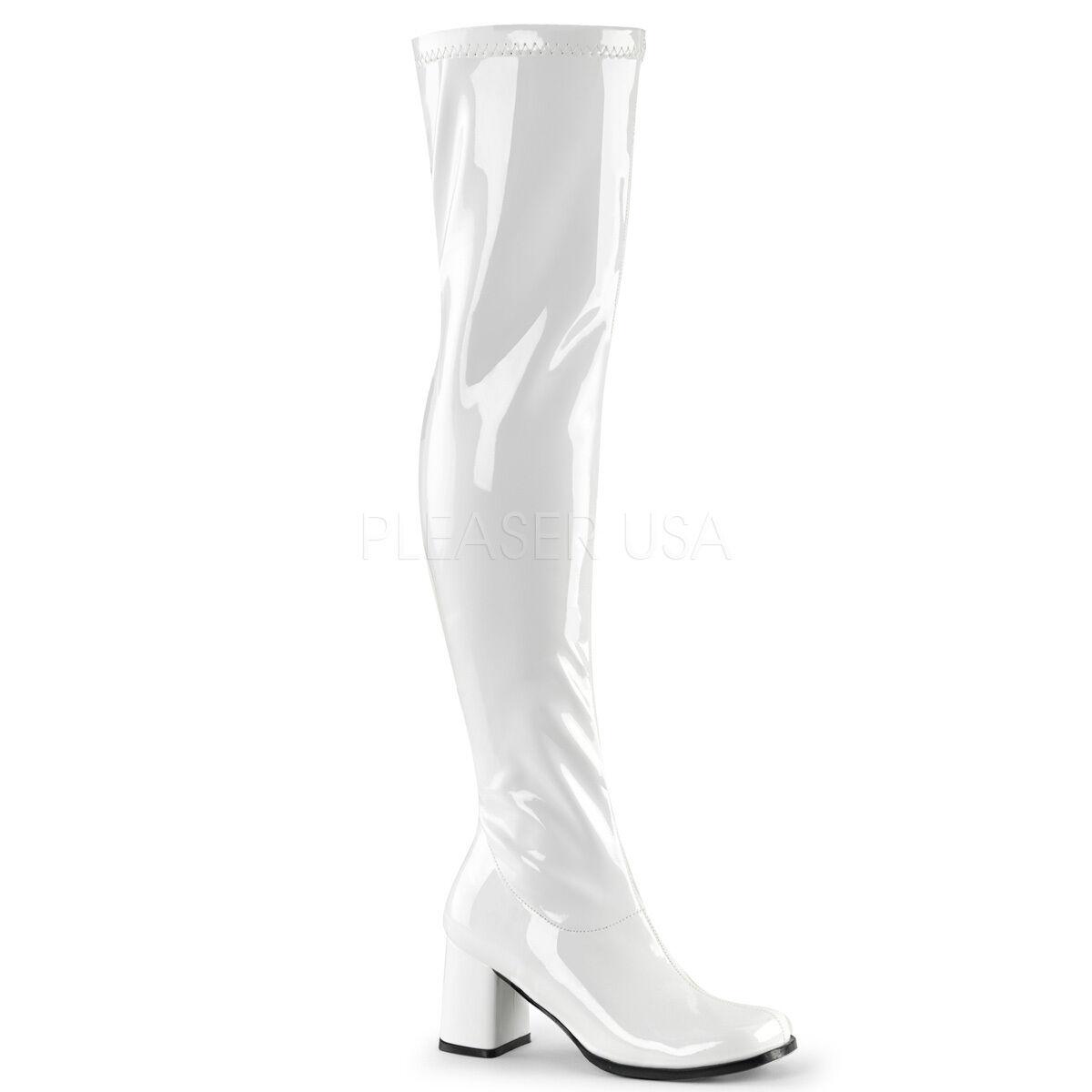 Sexy Pleaser 3  bloque Tacón Tacón Tacón blancoo Stretch patente Gogo Cyber muslo Club botas 5-16  la mejor oferta de tienda online
