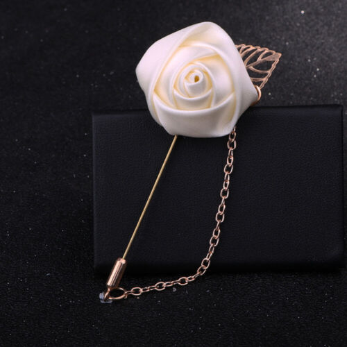 Suit Lapel Flower Brooch Rose Golden Leaves Wedding Boutonniere  With Chain Gift