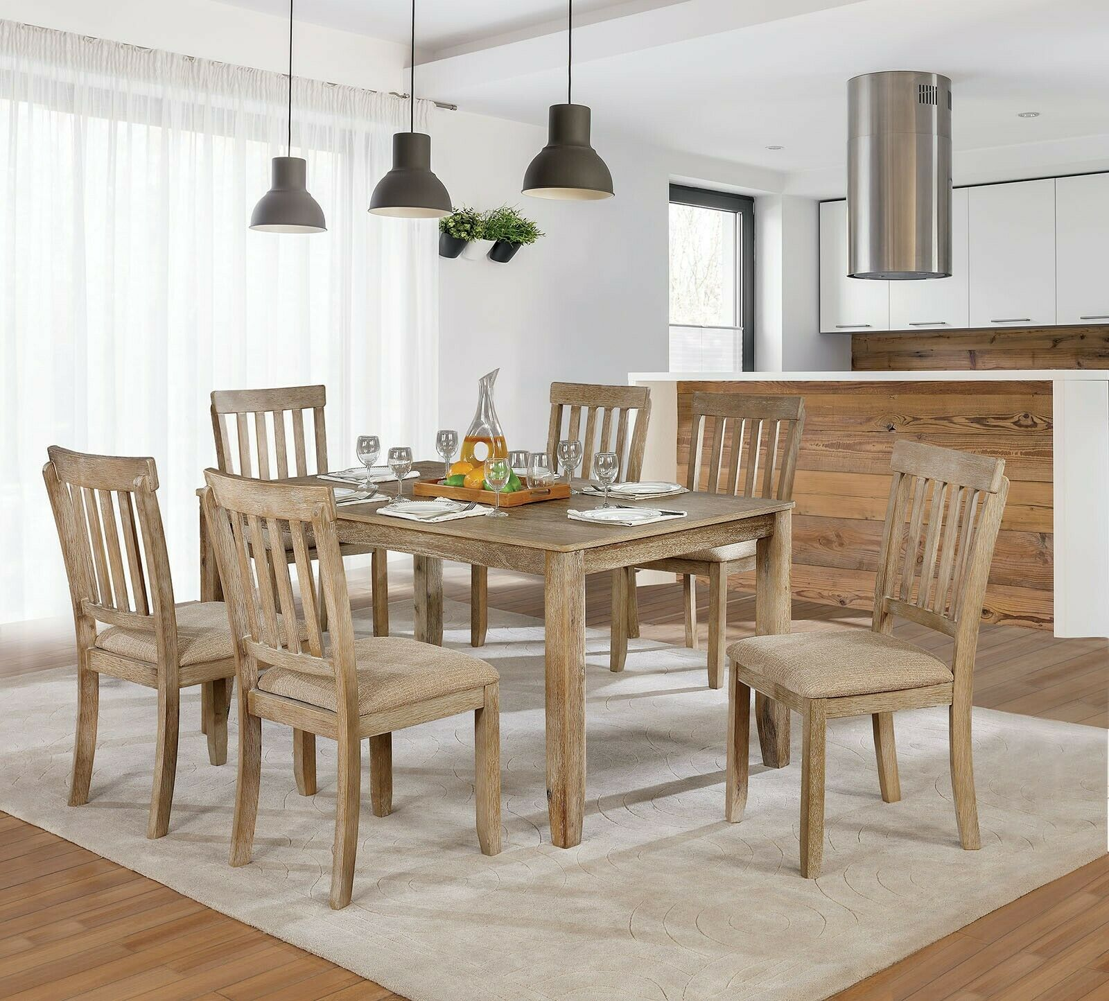 Rustic Style Wooden Furniture 7pc Antique Dining Room Set Table Chair  Upholstery