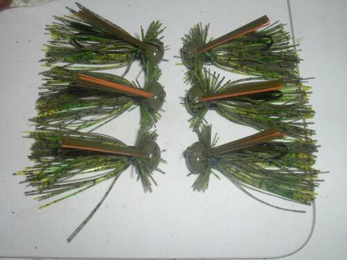 Yank Tackle Custom Football Jig Lot Of 3 Grasshopper Green Finesse 3//8 oz LOOK