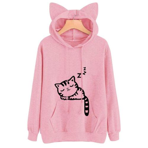 Womens Cat Ears Long Sleeve Hoodie Casual Hooded Sweatshirt Jumper Pullover Tops