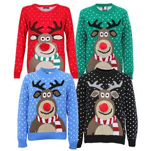 Boys-Christmas-Girls-Jumper-XMAS-Kids-Rudolph-Knitted-Pom-3D-Novelty-Winter-New
