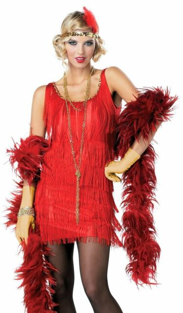 1920's Gatsby Flapper Dress RED Fancy Costume + Sequin Headband Med, Large, XL
