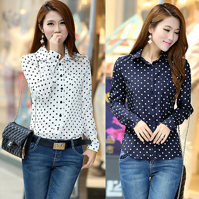 Korean Women Blouse Shirt Polka Dots Chiffon Long Sleeve Vintage 2 Colors Z