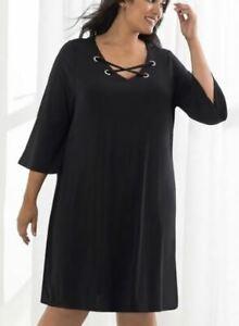 BEME-Dress-Plus-Size-16-18-20-22-24-Black-V-Neck-Criss-Cross-3-4-Bell-Sleeve