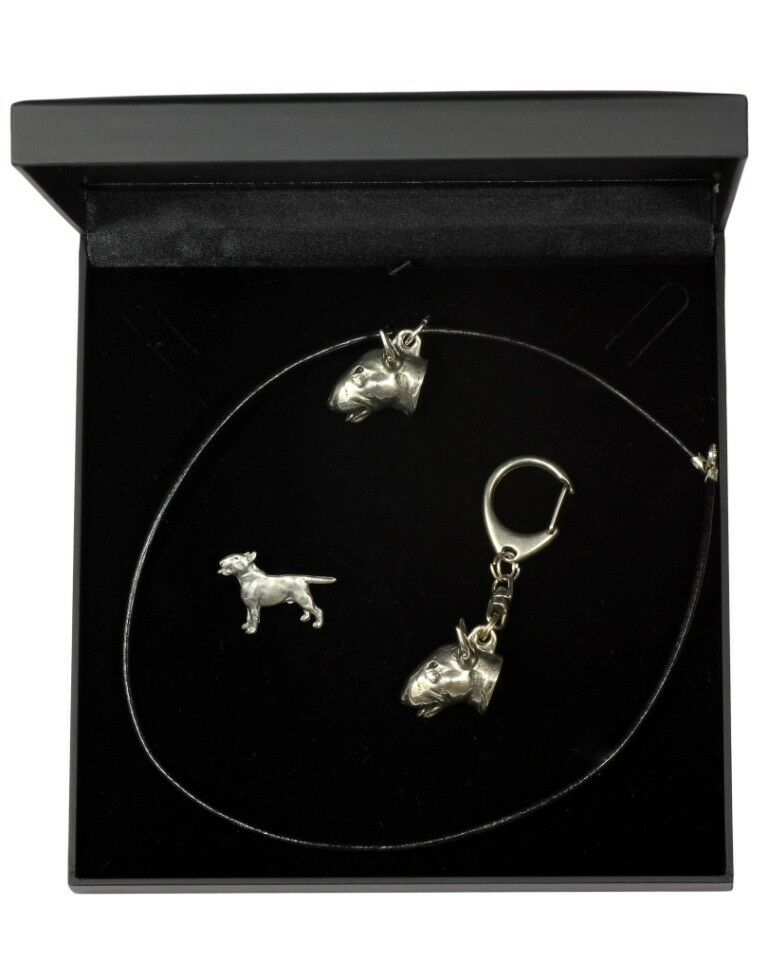 Bull Terrier - keyring, pendant, pin, set with dog in box, type 3 Art Dog