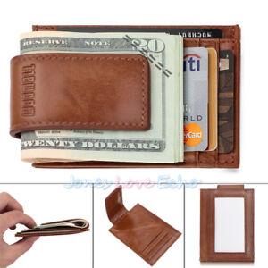 Men-Boy-Wax-Leather-Money-Clip-Magnet-Front-Pocket-Wallet-Slim-ID-Card-Case-NEW