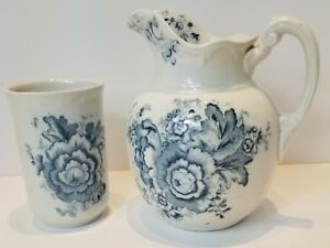 Antique-Pitcher-And-Cup-With-Blue-Floral-Design