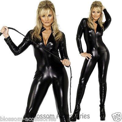 Fever Miss Whiplash Vinyl Suit Black Catsuit Catwoman Fancy Dress Costume O6