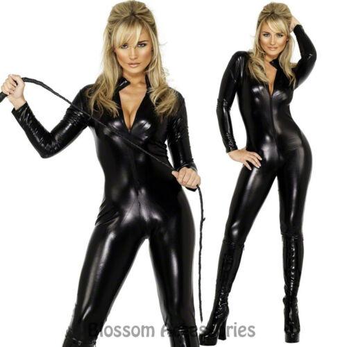 CL358 Fever Miss Whiplash Vinyl Suit Black Catsuit Catwoman Fancy Dress Costume