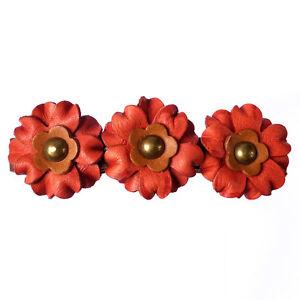 Pince-barrette-cheveux-femme-ethnique-3-fleurs-cuir-rouge-marron-clair-bronze