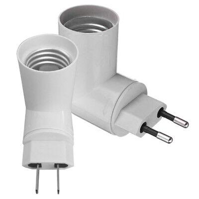 PP Rotatable Plug To E27 Base LED Light Lamp Holder Bulb Adapter Screw Socket