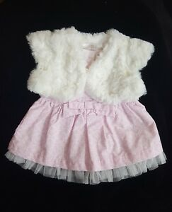 1a3f536ec NWT 3-6M Baby Girl Dress Cherokee Pink and Cream Faux Fur Vest and ...