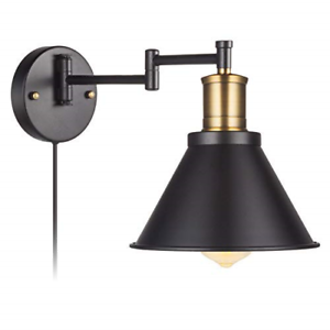 Details About Swing Arm Wall Lamp Plug In Cord Industrial Wall Sconce Bronze And Black On Off