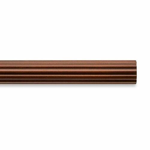 Cambria 4/' Classic Wood Decorative Fluted Drapery Pole Medium Brown