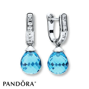 Image Is Loading Authentic Pandora 925 Silver Frosted Droplet Earrings Sky