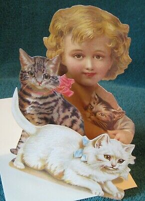 Cats Nice Purposeful Mamelok 3-d Greeting Card W/envelope Precious Child With Kittens