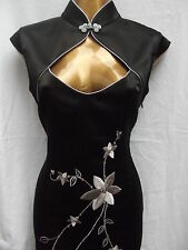 Oriental Chinese Black Silver MANDARIN LONG dress size 12