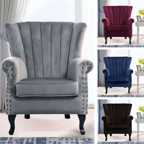 Velvet Fabric Armchair Lounge Tub Chair Queen Anne Fireside Sofa Oyster Wingback