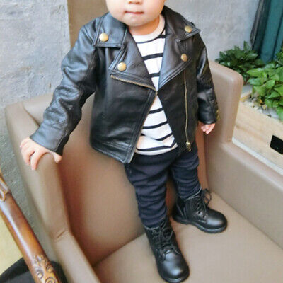 1PC Kids Infant Toddler Baby Girls Autumn Coats Leather Jacket Outerwear Warm US