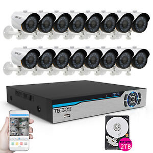 16 Channel DVR 700tvl HDMI Home Security Cameras System CCTV System Kit 2TB HDD