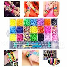 4400 PCS Colorful Rainbow Rubber Loom Bands Bracelet Making Kit Set S-Clips DIY