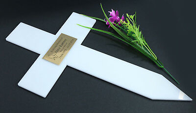 CROSS GRAVE MARKER EXTRA LARGE SIZE MEMORIAL WHITE ACRYLIC ENGRAVED PLAQUE