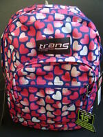Jansport Trans Supermax Backpack Pink Hearts Book Bag Girls School Pack