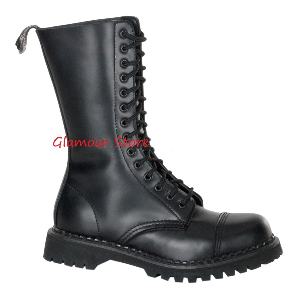 Stiefel Herren Absatz 3 cm Leder von 36 bis 46 schwarz Schnürsenkel