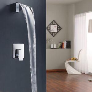 Image Is Loading Chrome Bathroom Sink Bathtub Waterfall Wide Spout Wall