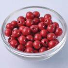 100pcs 10mm Red Round Natural Wood Loose Spacer Beads Wholesale Bulk Lot