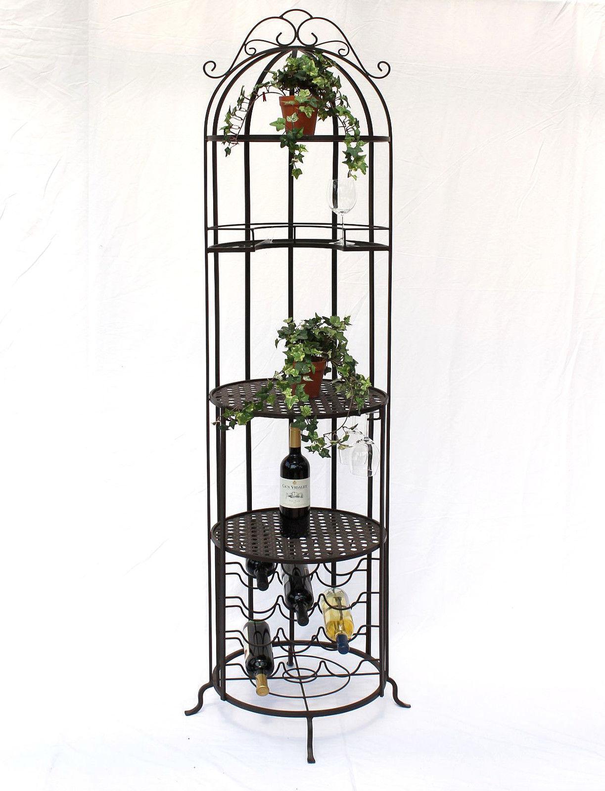 Étagère à vin bar cage en métal 196 cm placard à alcool t'130067 bouteilles support à