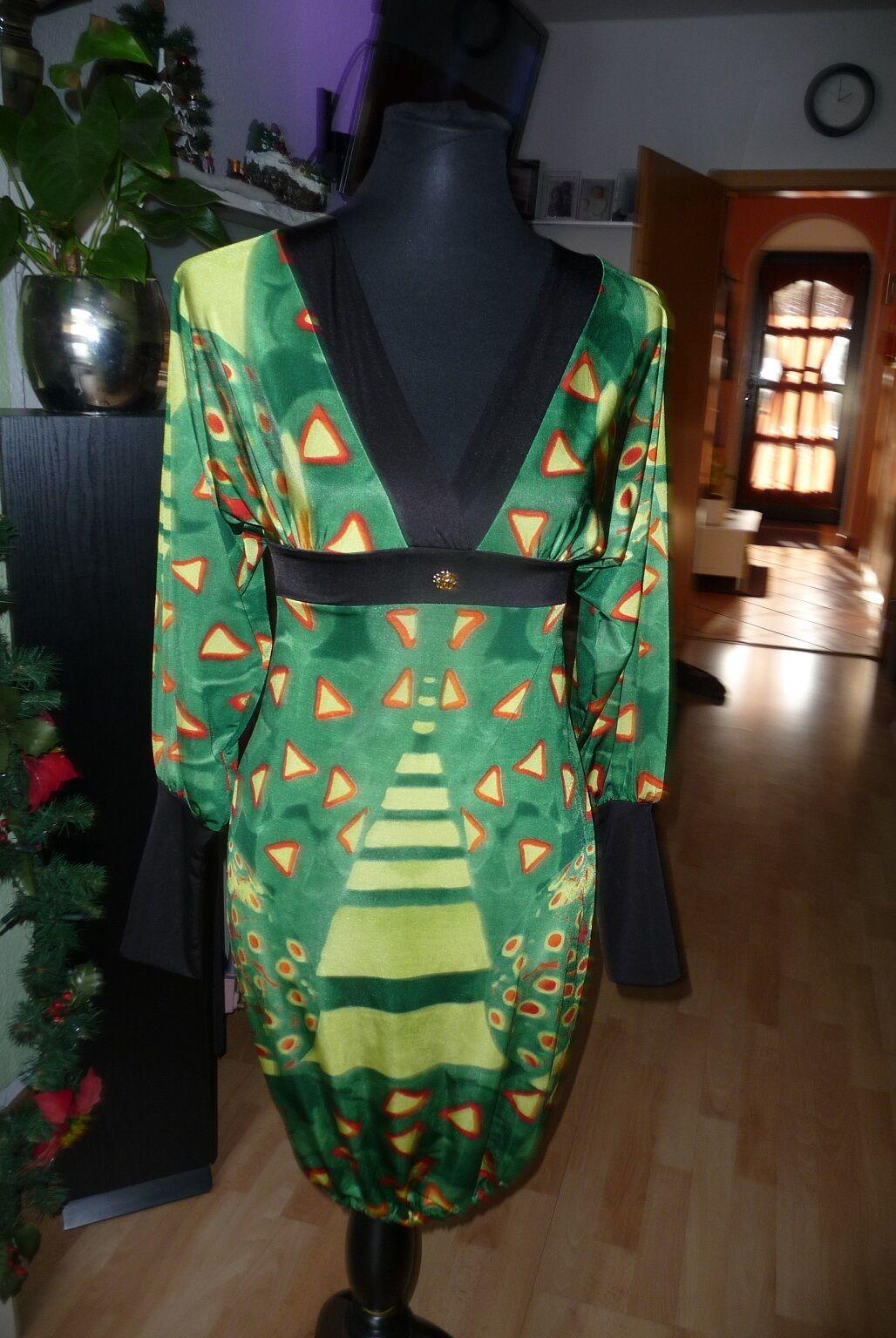 Extravagantes Kleid Kleid Kleid von Roberto Cavalli Gr. M grün gemustert 889312
