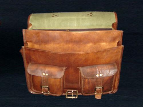 Large Vintage Style Real Genuine Leather Bag Messenger Satchel Dark Brown *