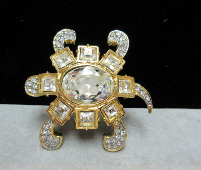 Vintage Valentino Couture New Clear Rhinestone Turtle Brooch Pin