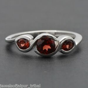 925-Sterling-Silver-Natural-Red-Garnet-Gemstone-three-stone-Ring-Jewelry-SRG-83