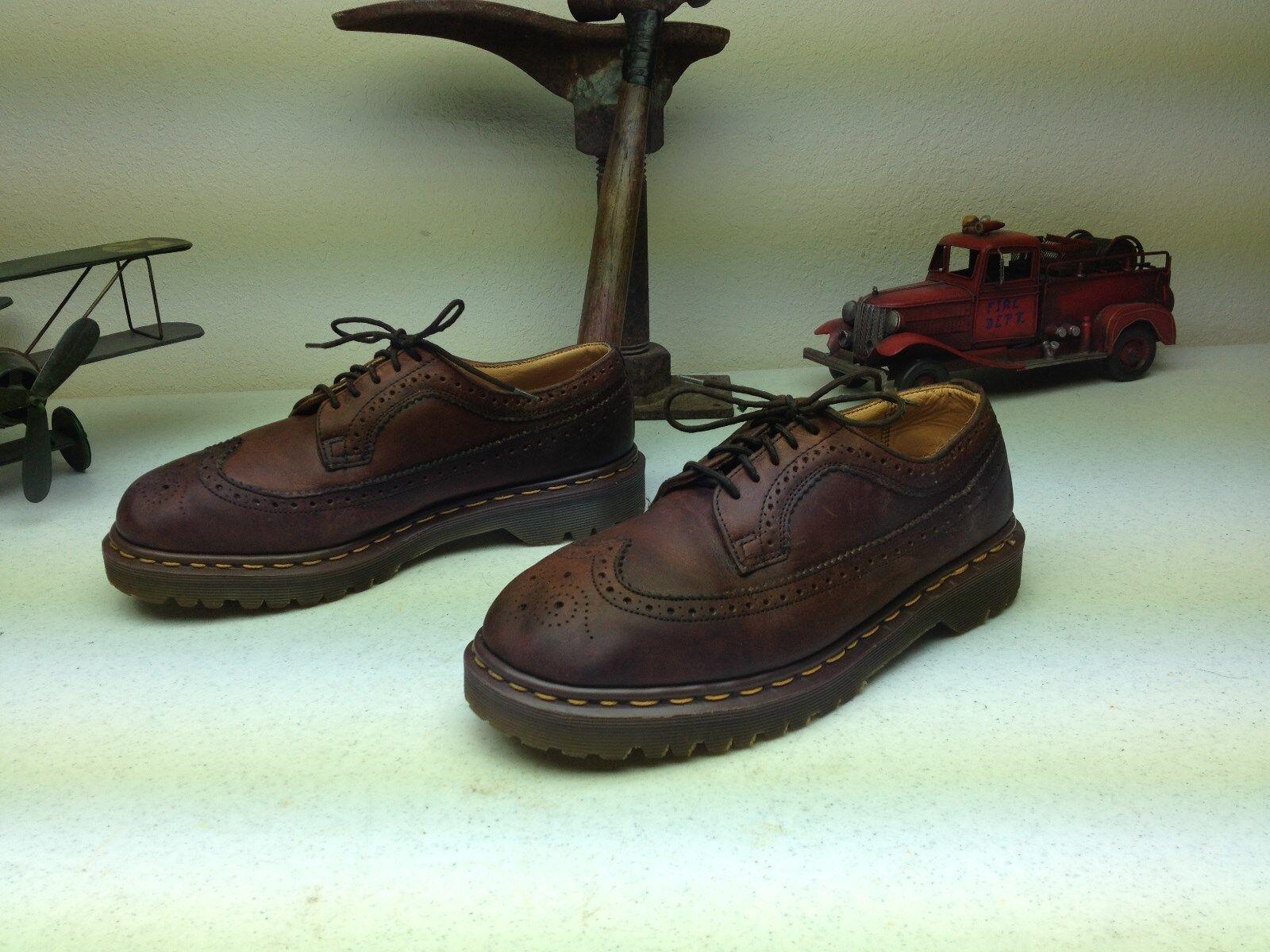 Vintage Dr Doc Martens Marrón De Cuero punta del ala Hecho En Inglaterra Hipster Zapatos 8 M