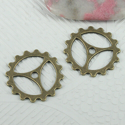 16pcs antiqued bronze color gear design charms EF0604