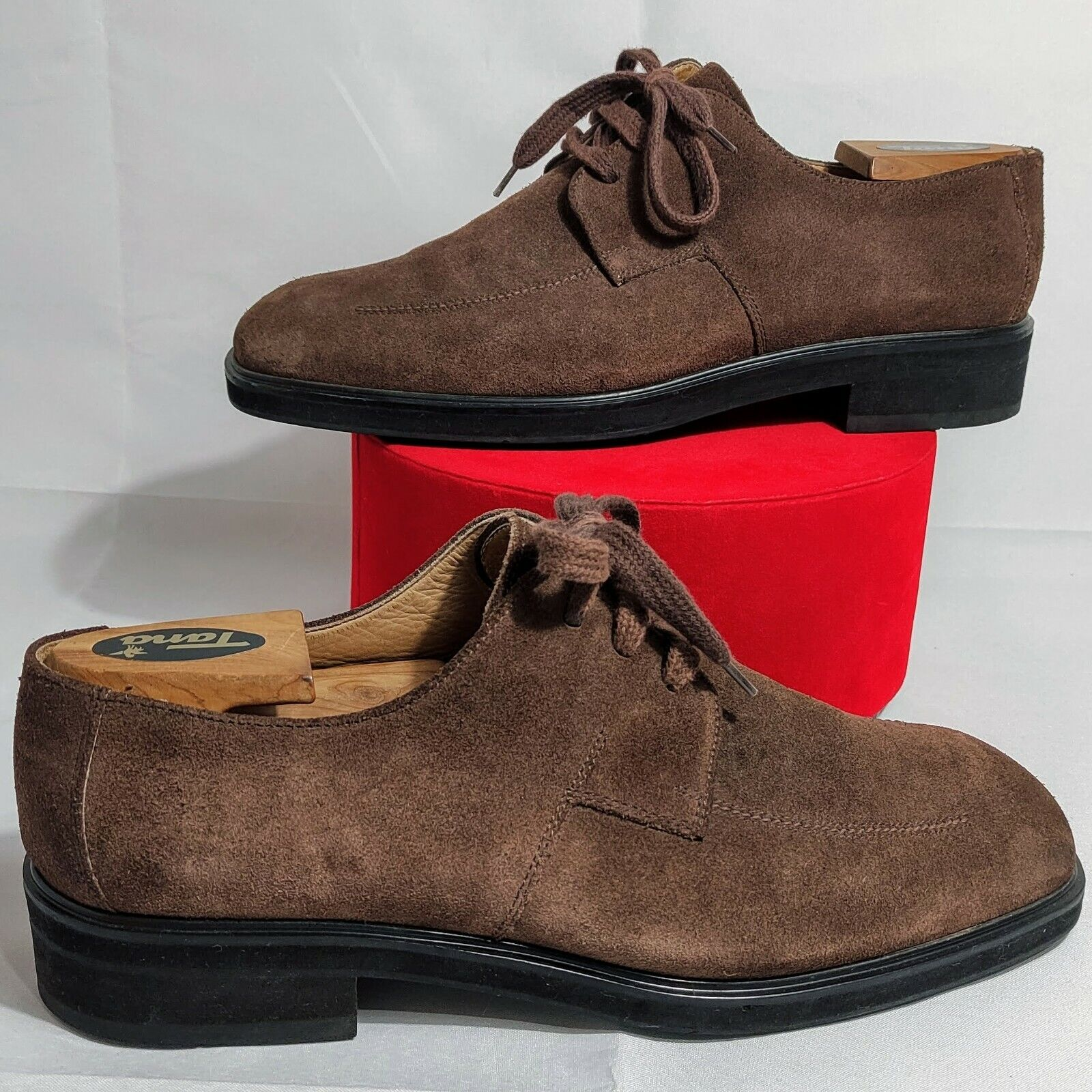 BALLY Suisse GRIOT Oxpord Brown Leather Suede Shoes Size 9.5