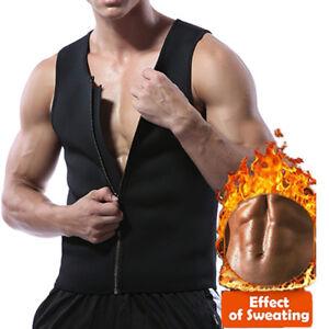 8ce2836f8d US Men Hot Neoprene Workout Sauna Tank Top Zipper Waist Trainer Vest ...