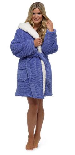 Ladies Warm Soft Fleece Hooded Dressing Gown Luxury Robe Wrap Sizes S XXXL