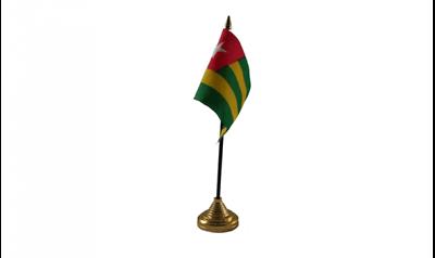12 Stück Togo (15.2cm X 10.2cm) Tisch Flaggen & Gold Kunststoff Kegel Sockel Zu Verkaufen