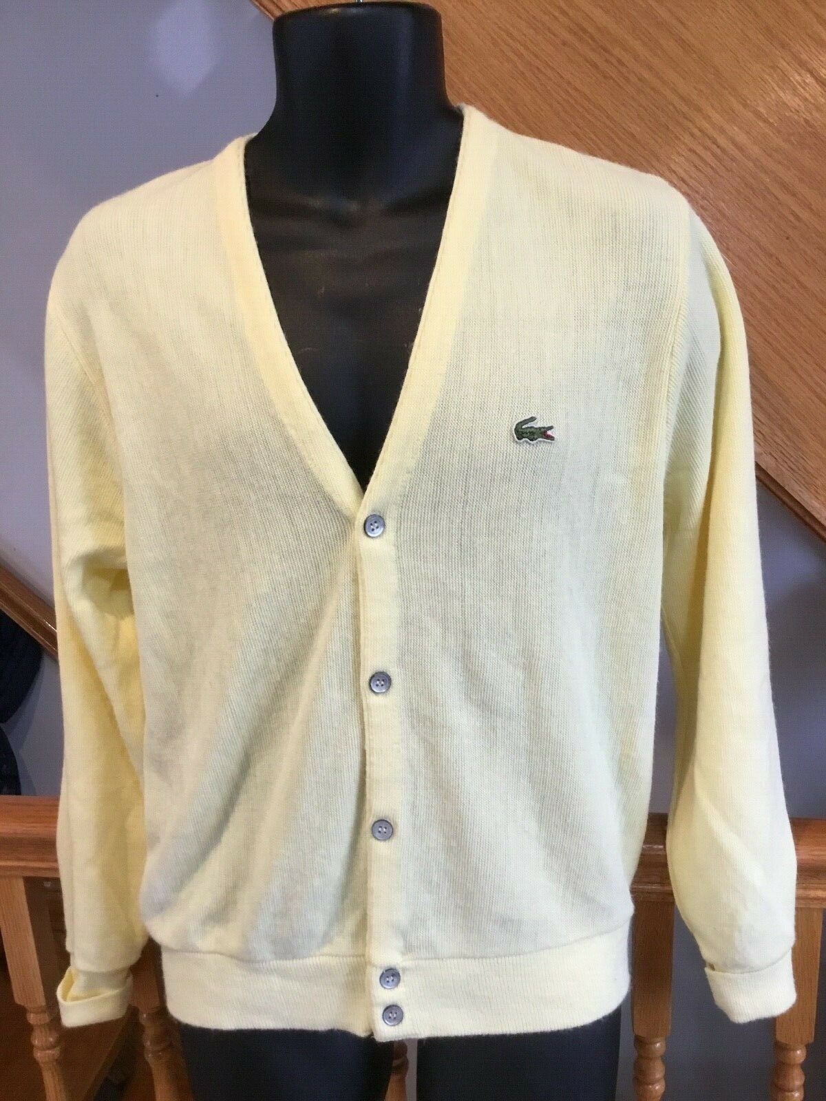 VTG LACOSTE Cardigan Sweater YELLOW Orlon Acrylic Men's SIZE L  MADE IN USA