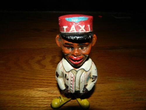"5 1//4/"" NOSTALGIC BLACK AMERICANA TAXI CABBY PENNY DIME CAST IRON BANK"
