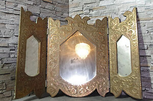 antique arabian North africa triptych mirror copper carved ...