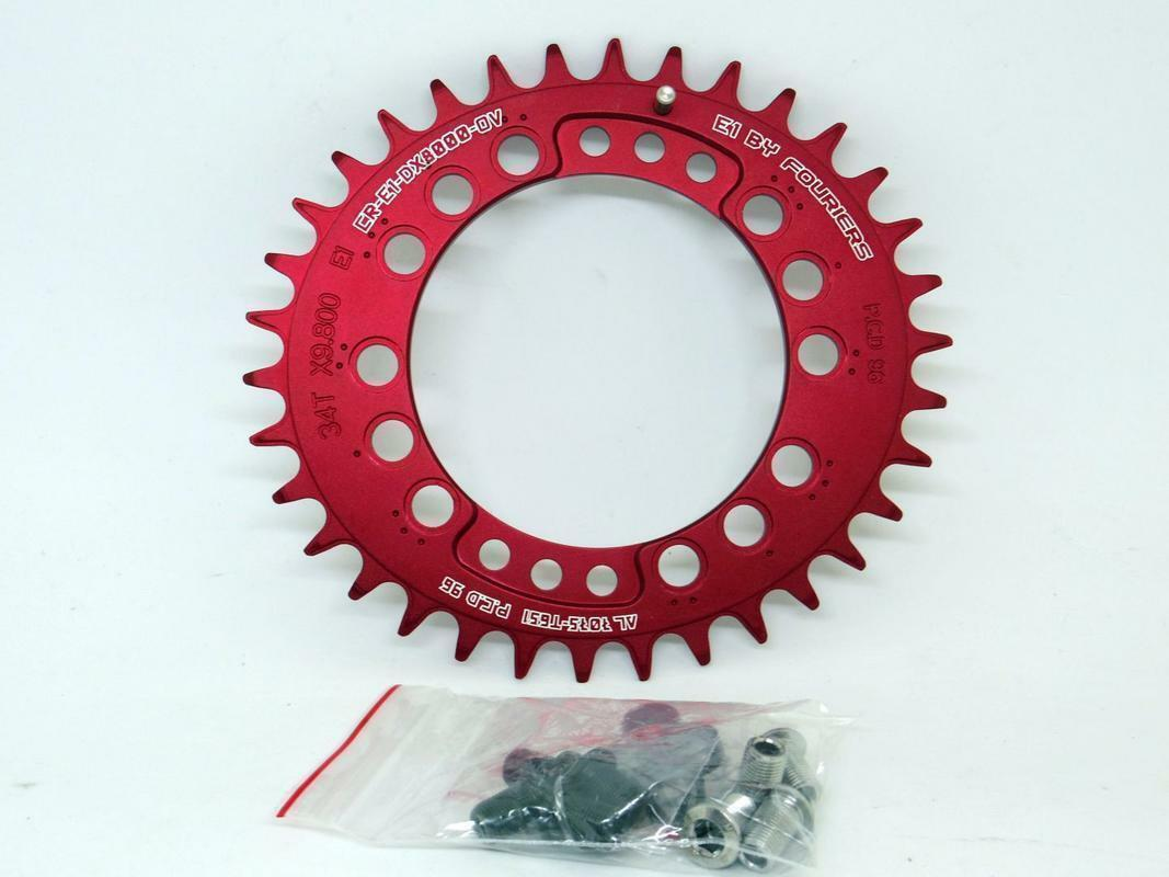 Fouriers MTB Bike Big Oval Single 34T Chainring BCD 96 For Shimano XT M8000 Red