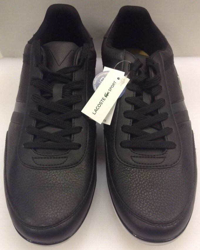 Lacoste Giron NAL Black Leather Sneakers Men's 13 US NIB 7-28SPM006502HM
