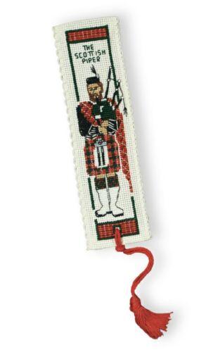 """Segnalibro scozzese PUNTO CROCE KIT; /'The Scottish Piper /""""da parte del patrimonio tessile"""